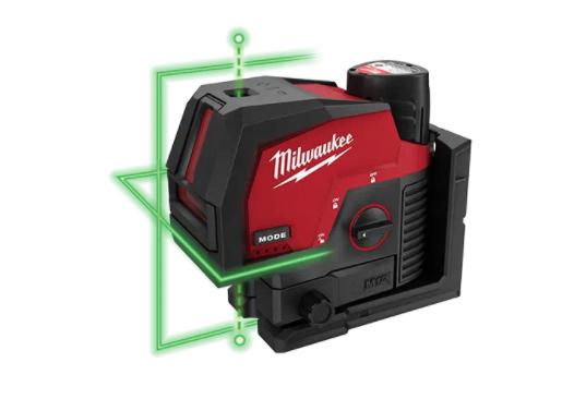 Milwaukee 12V Green Cross Line Laser & Plum Points - M12CLIP-301C