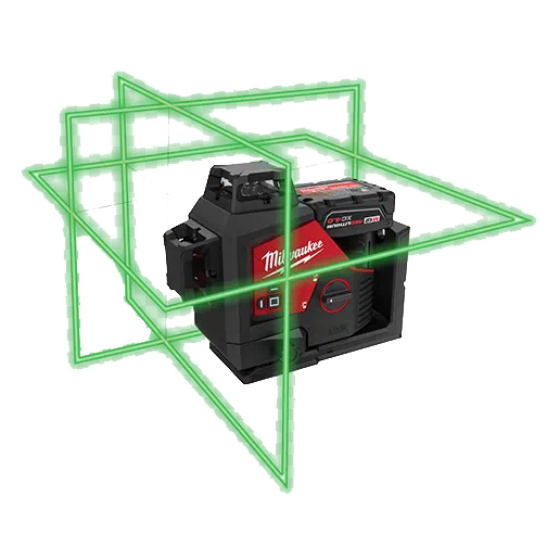 Milwaukee 12V Green 3 Plane Cross Line Laser & - M123PL-401C