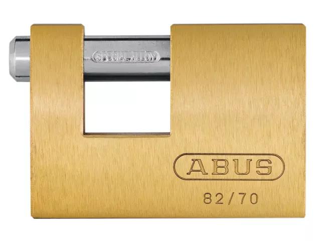 ABUS 82/70 70MM MONOBLOCK BRASS SHUTTER PADLOCK - 353277