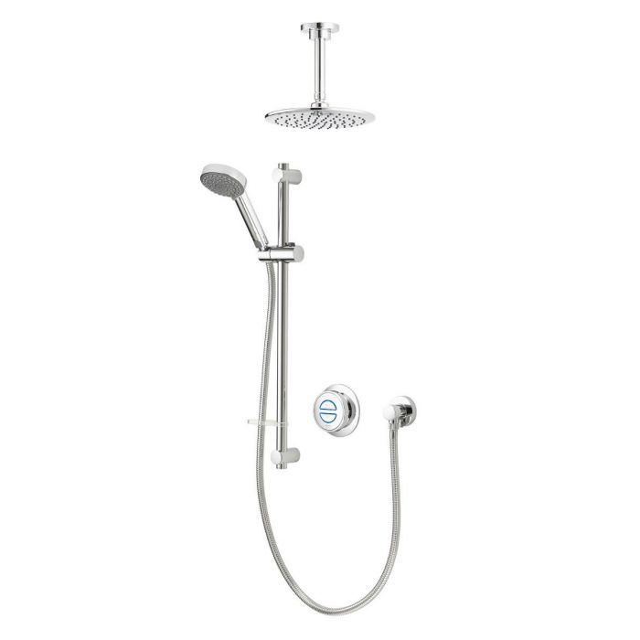 Aqualisa Quartz Classic Divert Concealed Shower With Adj and Fixed Ceiling Heads - HP/Combi