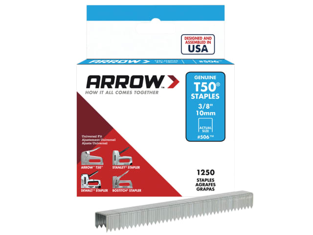 "ARROW T50 STAPLES 10MM (3/8"") BOX 1250 506 STAPLES T50 (1250QTY) 10MM / 3/8"""