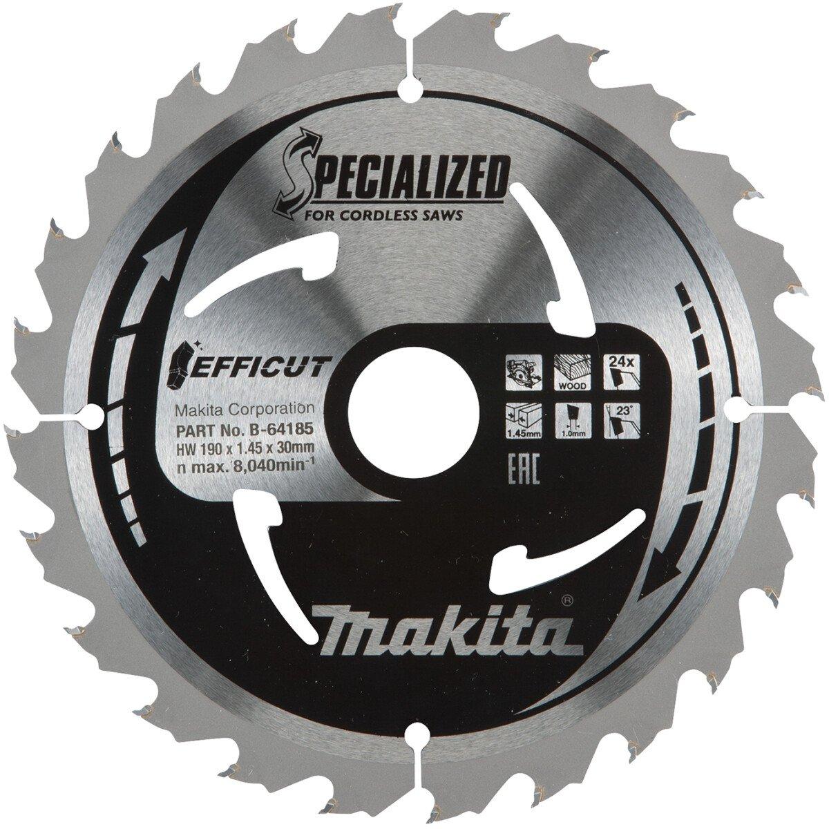 Makita Efficut Saw Blade 190mm x 30mm x 24th x 1.45mm Thick - B-64185