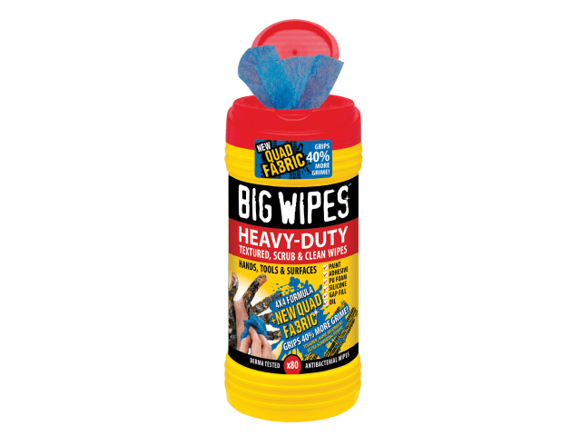 BIGWIPES RED TOP 4 X 4 HEAVY DUTY HAND WIPES (TUB 80)