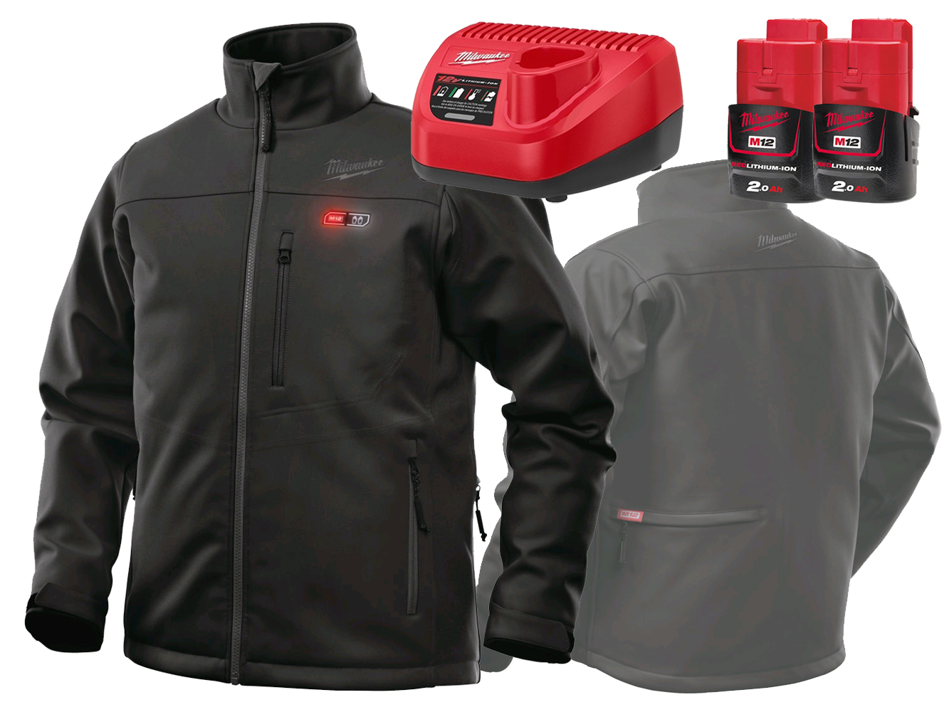 MILWAUKEE 12V BLACK PREMIUM HEATED JACKET - GEN4 - XL - 2.0AH PACK