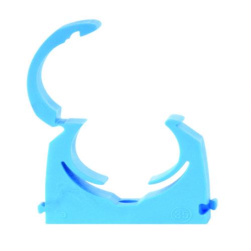 Talon MDPE Single Hinged Pipe Clip 20mm (Flexi Size 19mm - 21mm) Blue