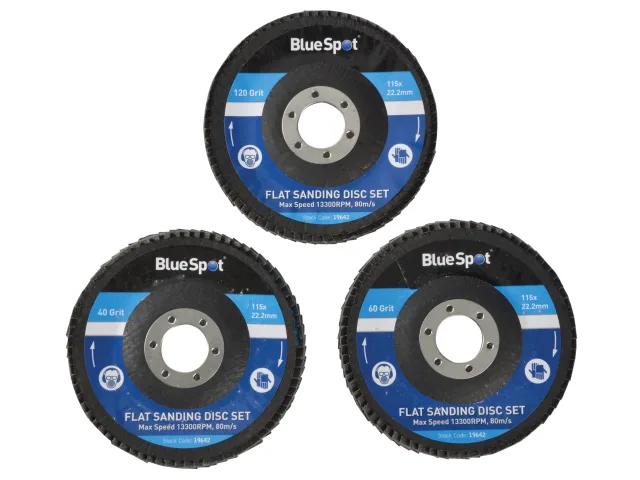 BLUE SPOT SANDING FLAP DISC SET 3 PIECE 115MM (4.1/2IN) - 19642