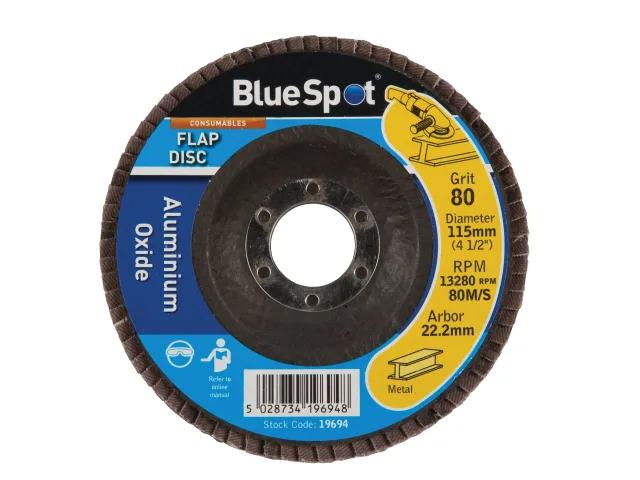 BLUE SPOT SANDING FLAP DISC 115MM 80 GRIT - 19694