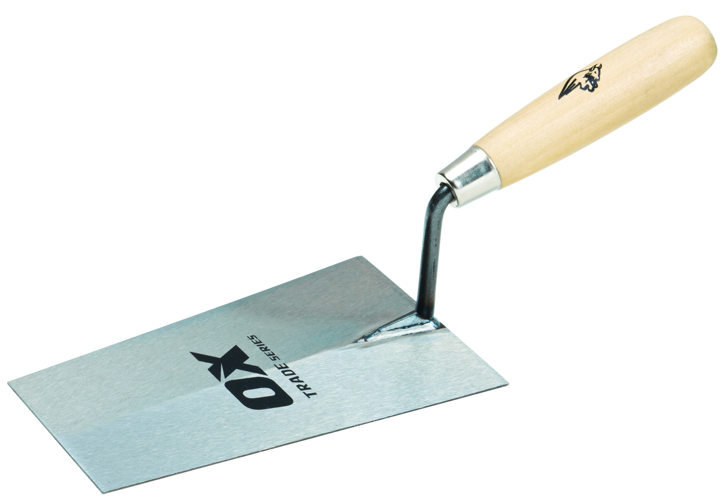 "OX TRADE BUCKET TROWEL - WOODEN HANDLE / 7"" / 180MM"