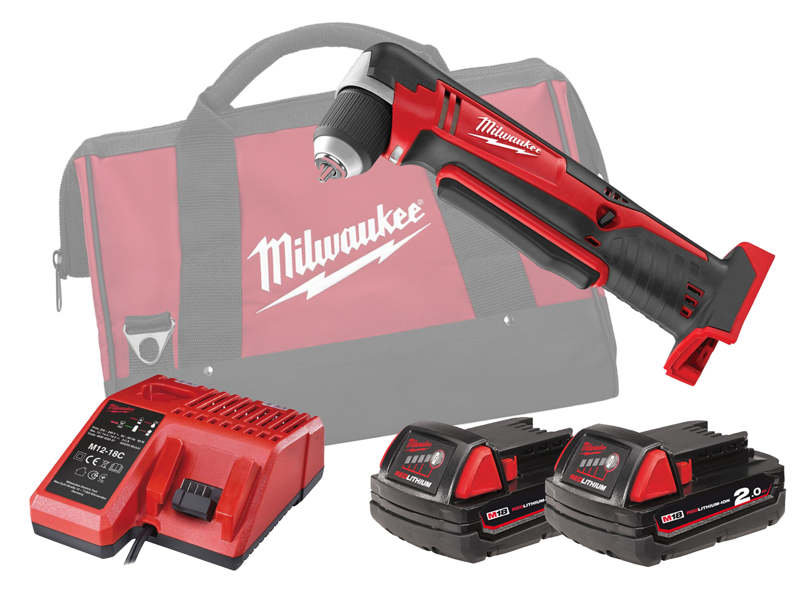 MILWAUKEE 18V COMPACT RIGHT ANGLE DRILL - C18RAD - 2.0AH PACK