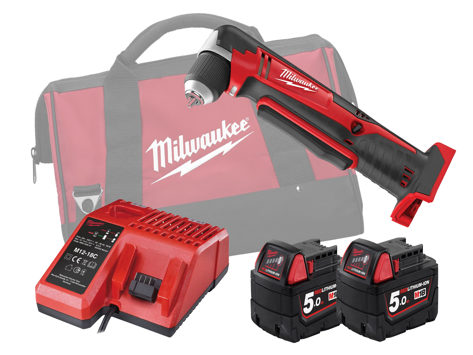 MILWAUKEE 18V COMPACT RIGHT ANGLE DRILL - C18RAD - 5.0AH PACK