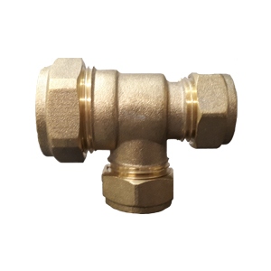 BRASS COMPRESSION REDUCING TEE 28MM X 22MM X 28MM