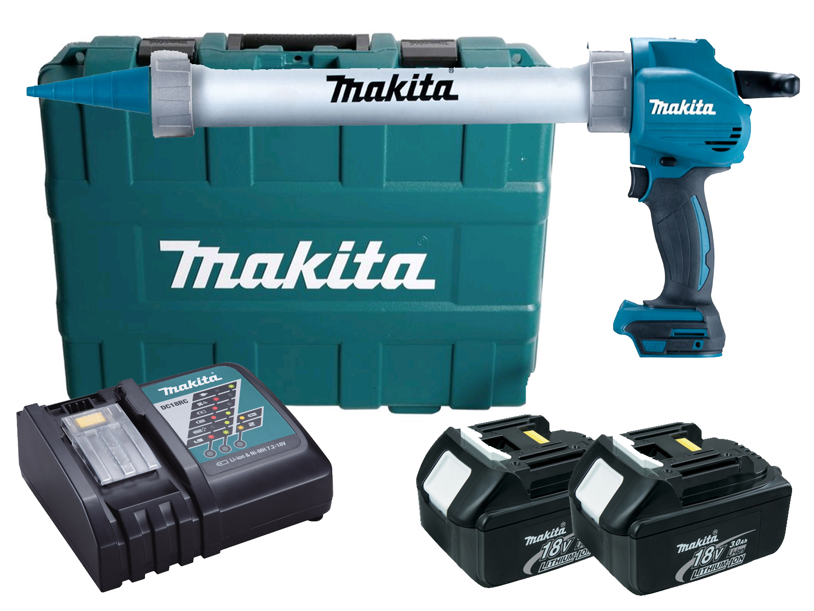 MAKITA 18V 600ML ALUMINIUM CAULKING GUN & CASE - DCG180 - 3.0AH PACK