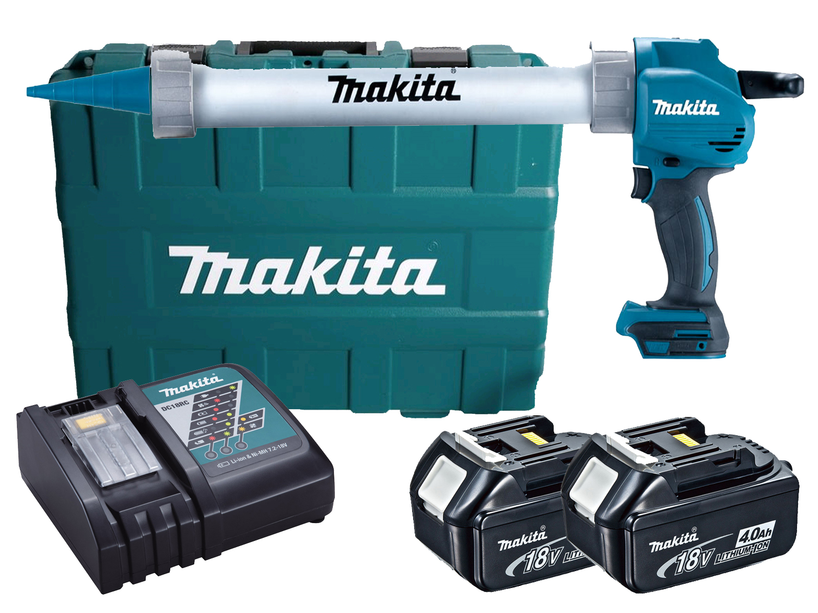 MAKITA 18V 600ML ALUMINIUM CAULKING GUN & CASE - DCG180 - 4.0AH PACK