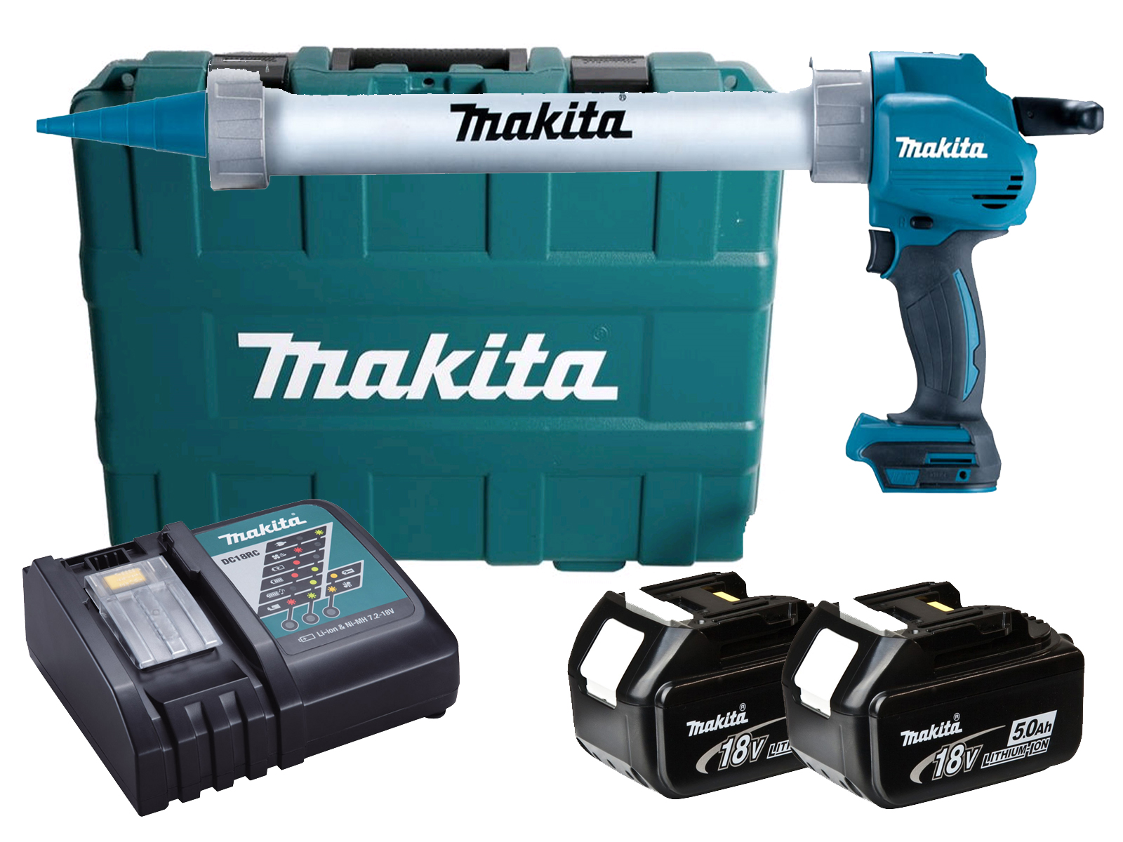 MAKITA 18V 600ML ALUMINIUM CAULKING GUN & CASE - DCG180 - 5.0AH PACK
