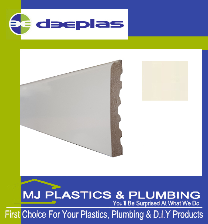 Deeplas Castellated Architrave 90mm x 6mm - Cream 1096
