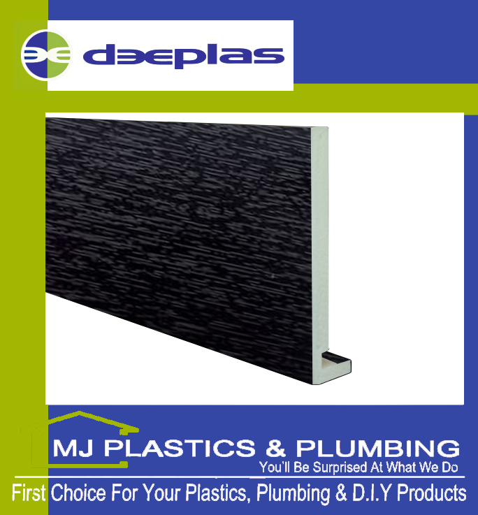 Deeplas 300 X 16mm Square Edge Maxi Fascia Board - Black Ash