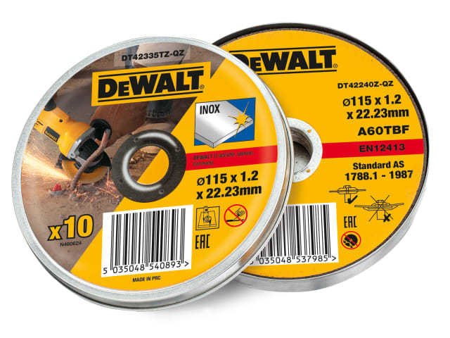 DEWALT STAINLESS STEEL METAL FLAT CUTTING DISCS 115MM X 1.2MM - TIN OF 10