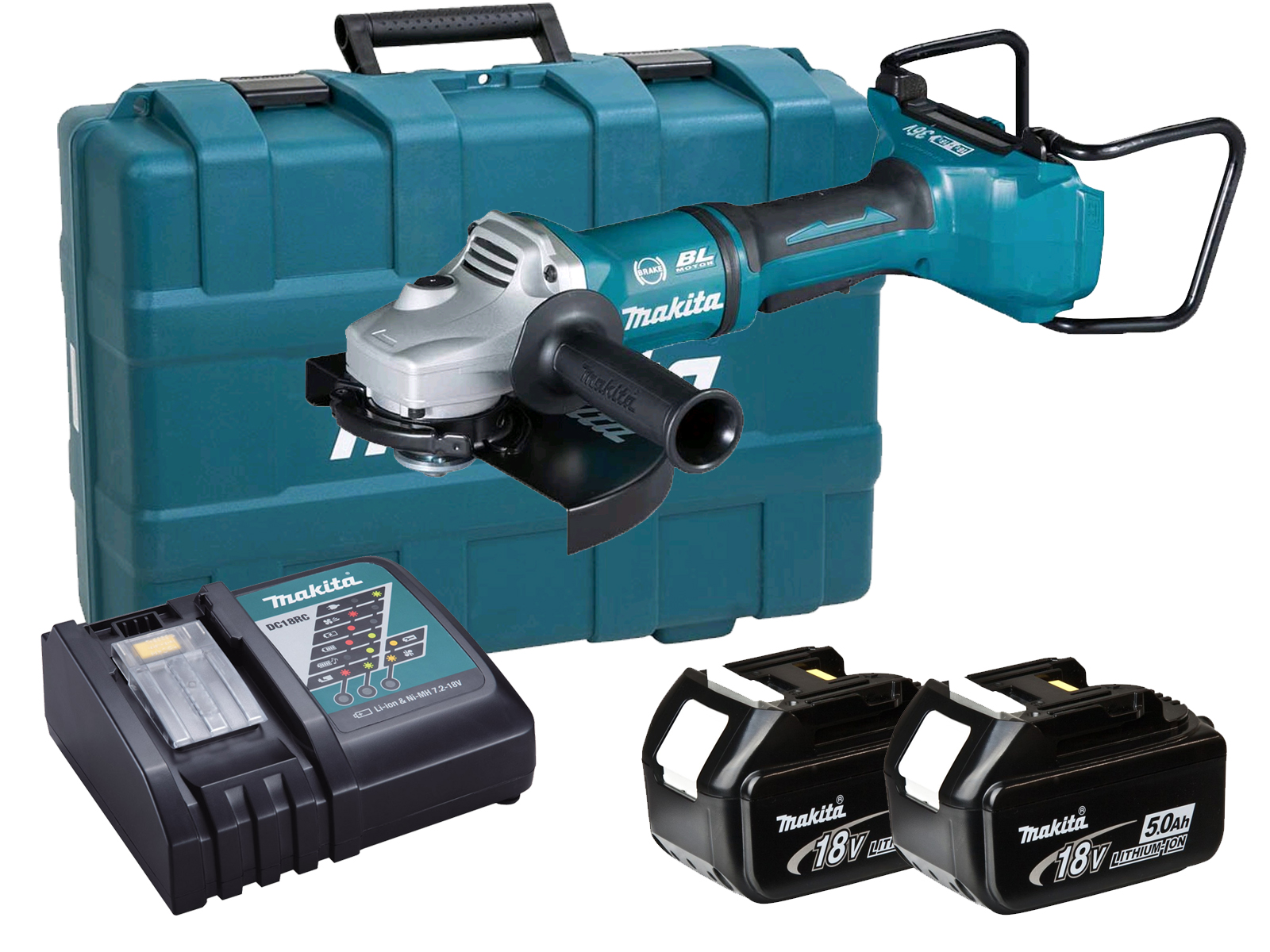 Makita DGA900 36V (Twin 18V) Brushless 230mm Angle Grinder LXT - 5.0Ah Pack
