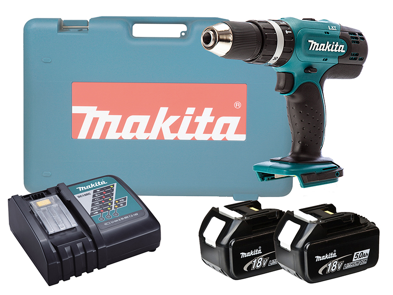 Makita DHP453 18V Brushed Combi Drill LXT - 5.0ah Pack