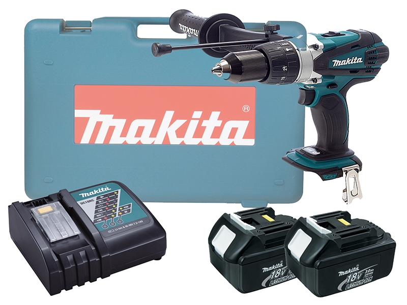 Makita DHP458 18V Brushed Compact Combi Drill LXT - 3.0ah Pack