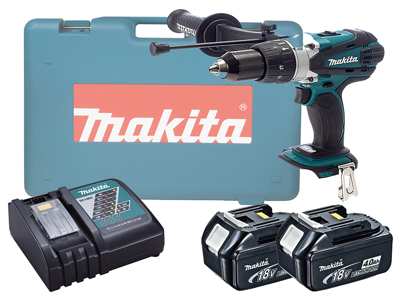 Makita DHP458 18V Brushed Compact Combi Drill LXT - 4.0ah Pack