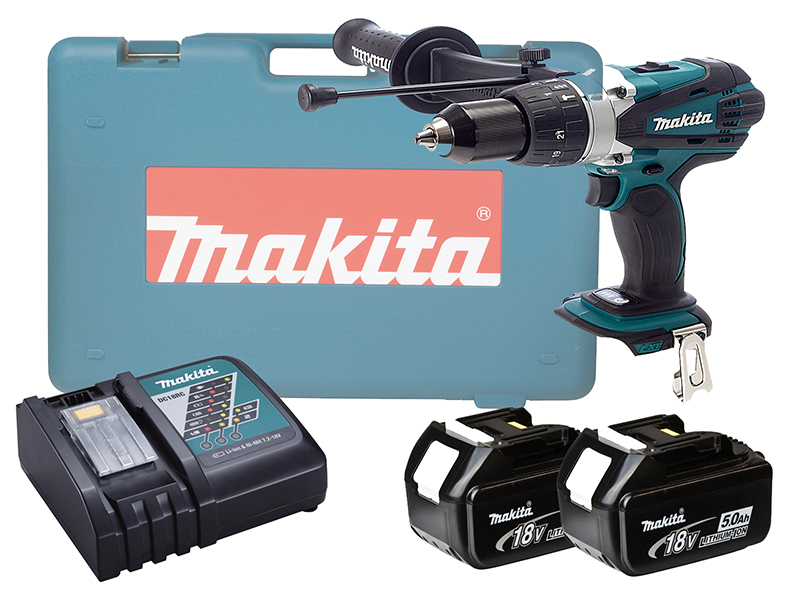 Makita DHP458 18V Brushed Compact Combi Drill LXT - 5.0ah Pack