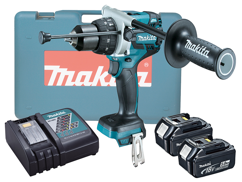 Makita DHP481Z 18V Brushless Combi Drill LXT Variable Speed by Trigger - 5.0ah Pack