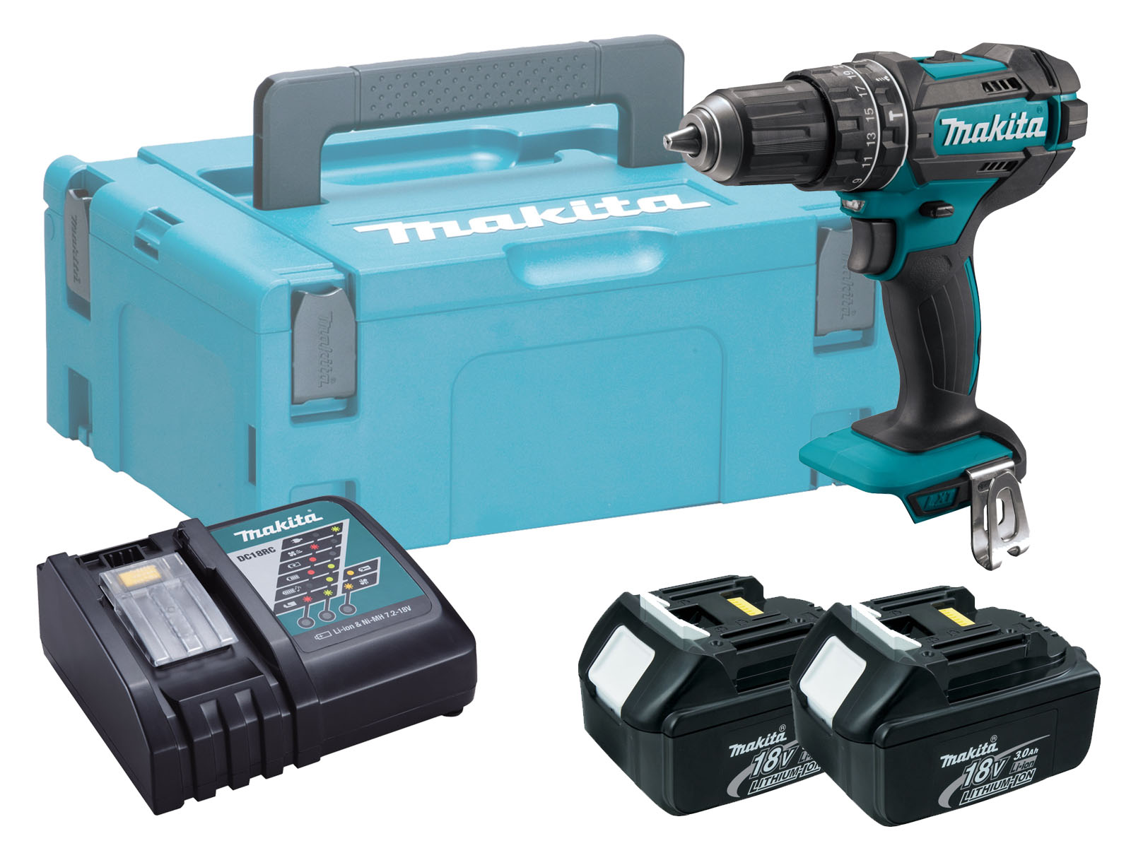 Makita DHP482 18V Combi Hammer Driver Drill Brushed - 3.0Ah Pack