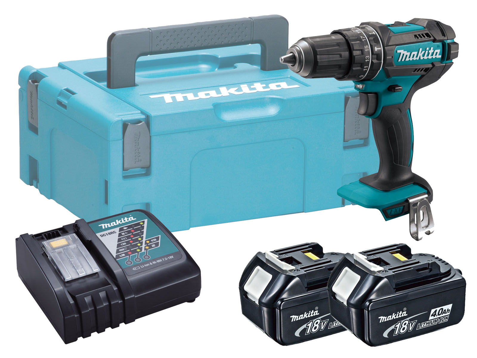 Makita DHP482 18V Combi Hammer Driver Drill Brushed - 4.0ah Pack