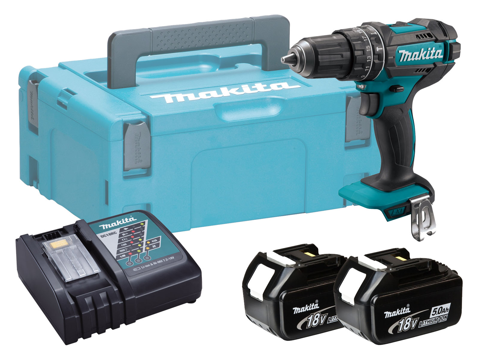 Makita DHP482 18V Combi Hammer Driver Drill Brushed - 5.0ah Pack