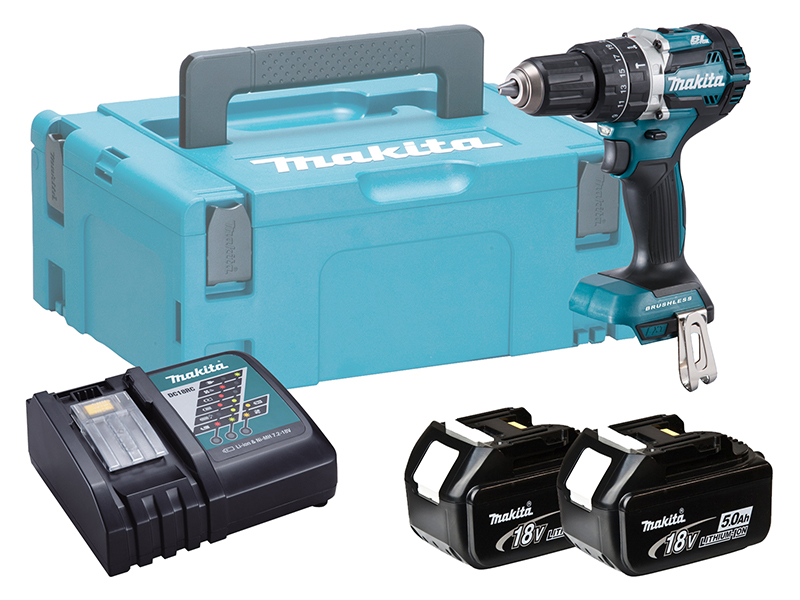 Makita DHP484 18V Brushless Combi Hammer Driver Drill - 5.0ah Pack