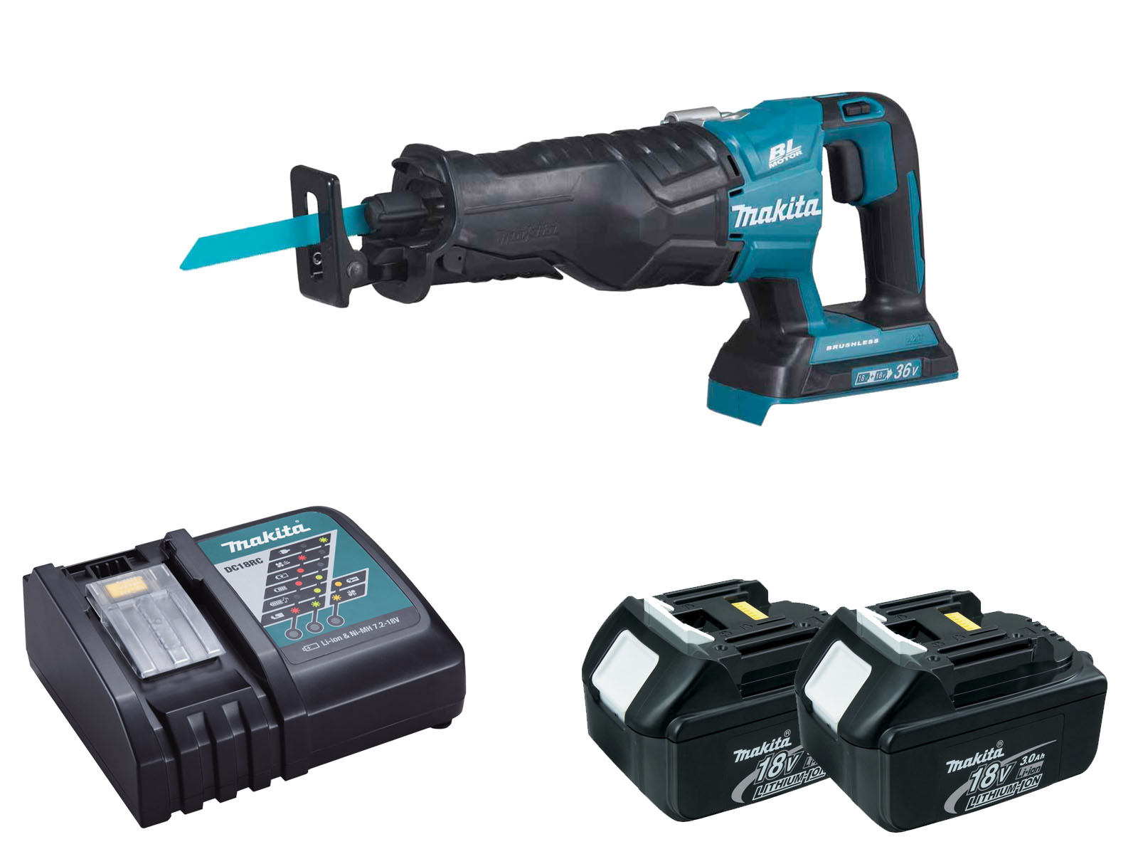 Makita DJR360Z Twin 18V (36V) Brushless Reciprocating Saw LXT - 3.0ah Pack