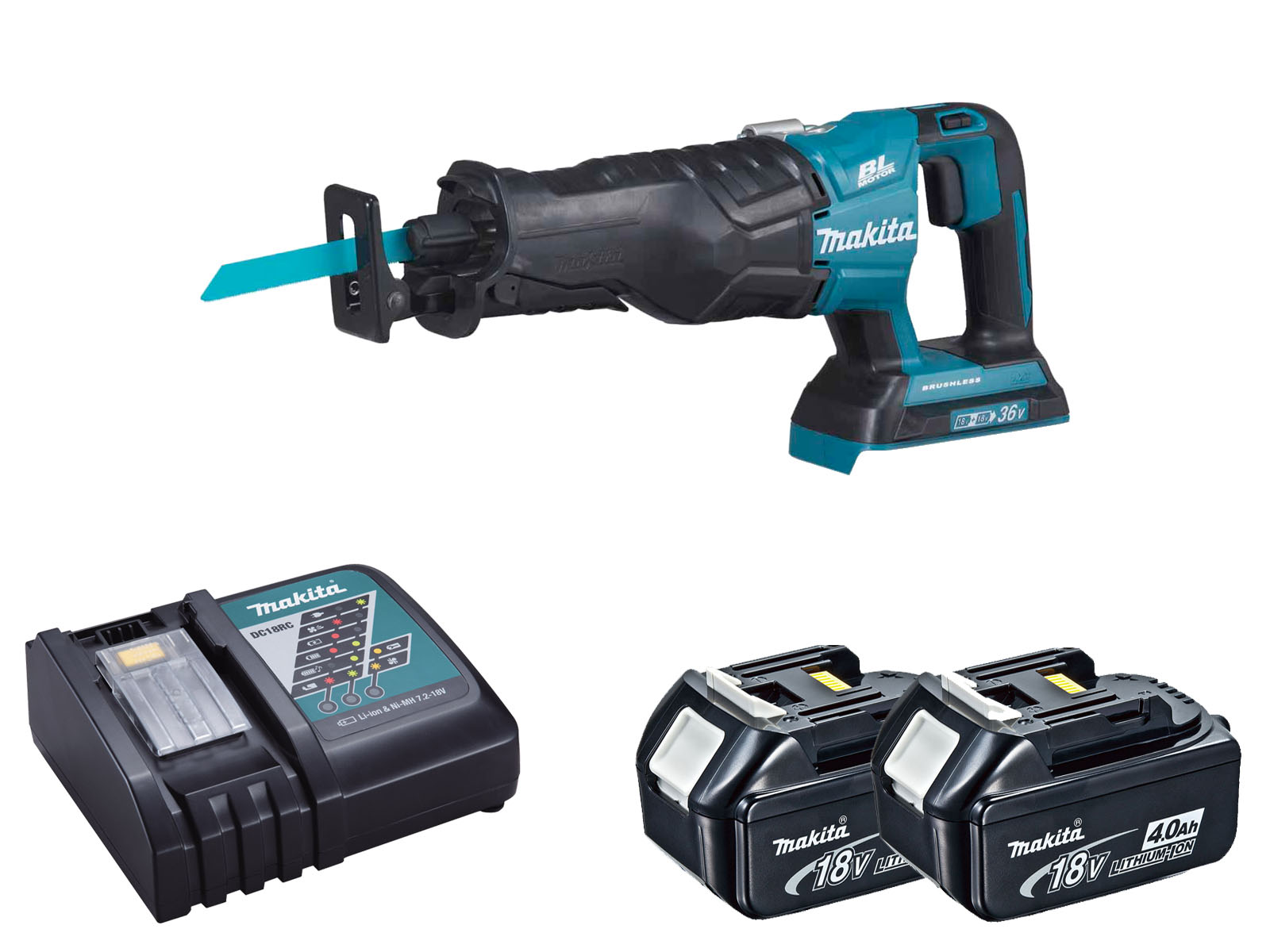 Makita DJR360Z Twin 18V (36V) Brushless Reciprocating Saw LXT - 4.0ah Pack