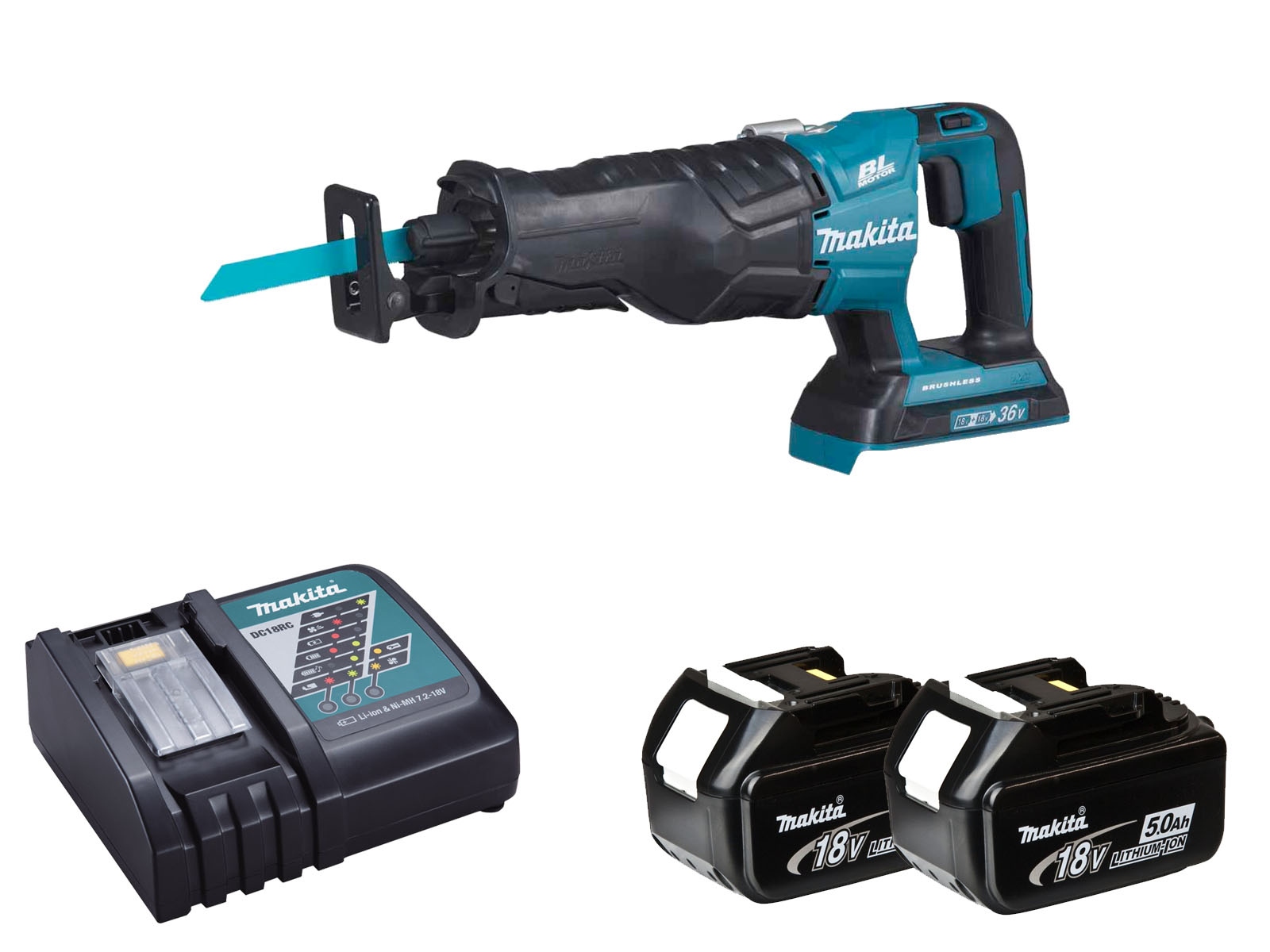 Makita DJR360Z Twin 18V (36V) Brushless Reciprocating Saw LXT - 5.0ah Pack