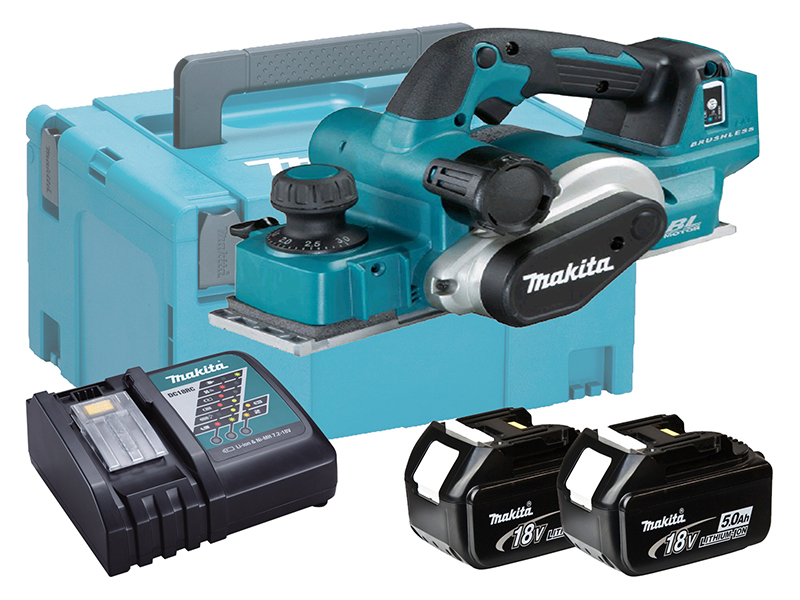 Makita 18V Brushless 82mm Planer + AWS Bluetooth - DKP181ZU - 5.0Ah Pack