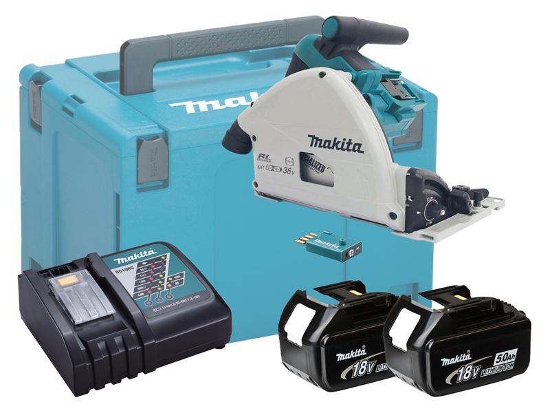 Makita DSP601 36V (18V Twin) 165mm Brushless AVS Plunge Cut Saw LXT - 5.0Ah Kit