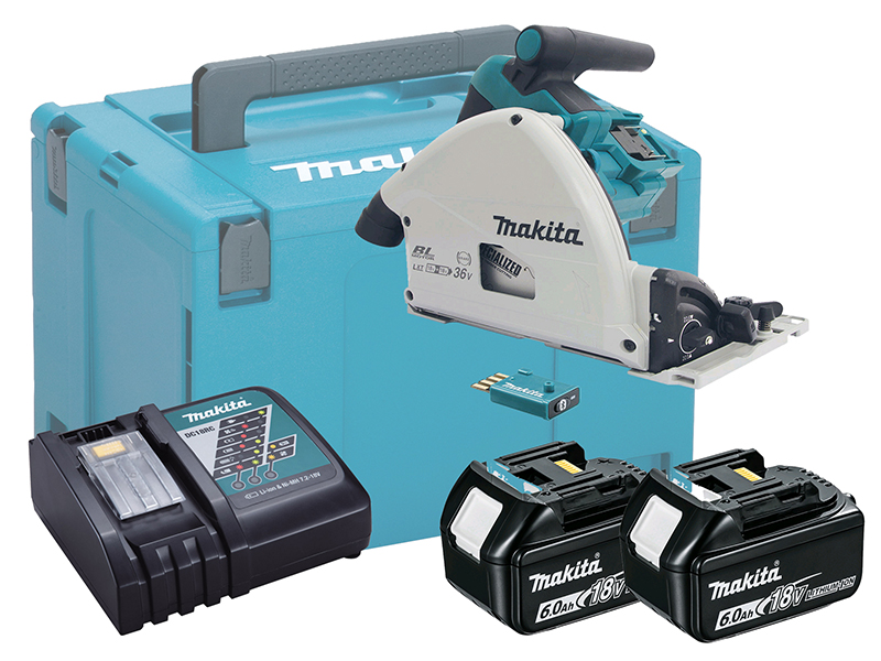 Makita DSP601 36V (18V Twin) 165mm Brushless AVS Plunge Cut Saw LXT - 6.0Ah Kit