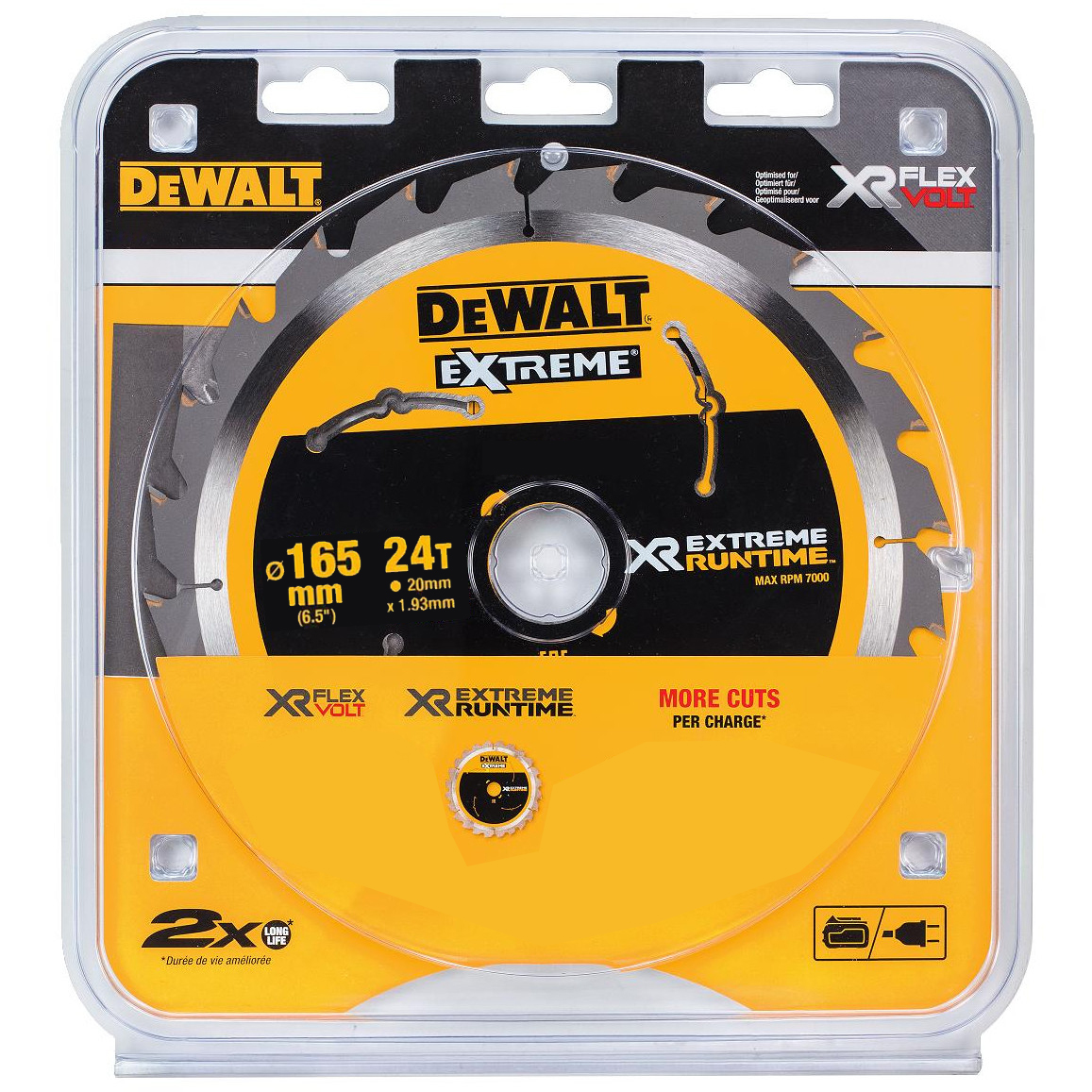 DEWALT XR CIRCULAR SAW BLADE - 165MM X 20MM X 24TH - DT99560-QZ