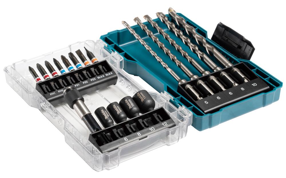 Makita 18pc Drill & Screw Bit Set With Clear Case - E-07026