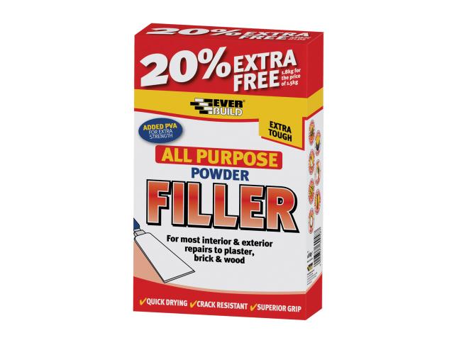 EVERBUILD ALL PURPOSE POWDER FILLER 1.5KG + 20% FREE