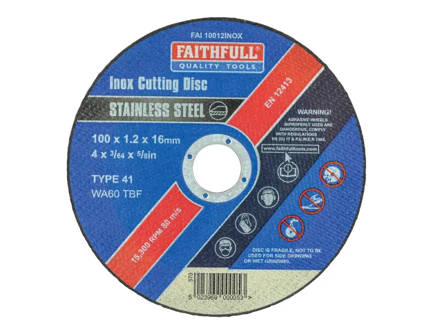 FAITHFULL INOX CUTTING DISC 100MM X 1.2MM X 16MM