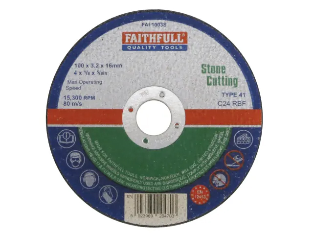 FAITHFULL STONE CUT OFF DISC 100 X 3.2 X 16MM