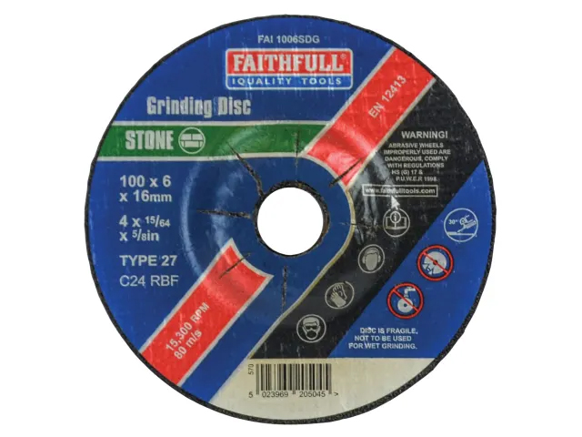 FAITHFULL STONE GRINDING DISC DEPRESSED CENTRE 100MM X 6MM X 16MM