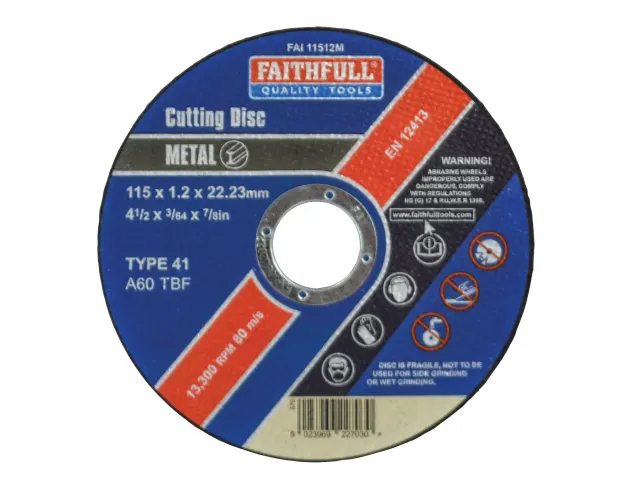 FAITHFULL METAL CUT OFF DISC 115 X 1.2 X 22.23MM