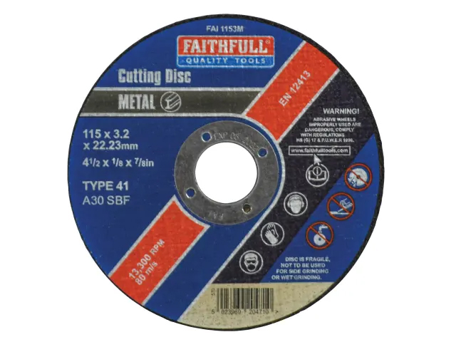 FAITHFULL METAL CUTTING DISC 115MM X 3.2MM X 22.23MM