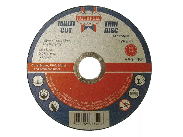 FAITHFULL MULTI-PURPOSE CUTTING DISC 125 X 1.0 X 22.23MM