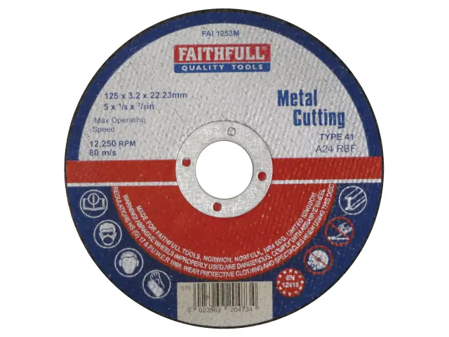 FAITHFULL METAL CUT OFF DISC 125 X 3.2 X 22.23MM