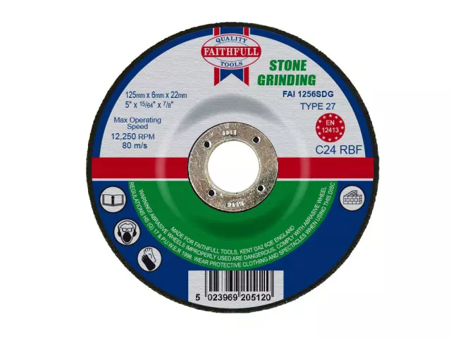 FAITHFULL STONE GRINDING DISC DEPRESSED CENTRE 125 X 6 X 22.23MM