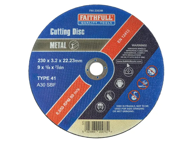 FAITHFULL METAL CUT OFF DISC 230 X 3.2 X 22.23MM
