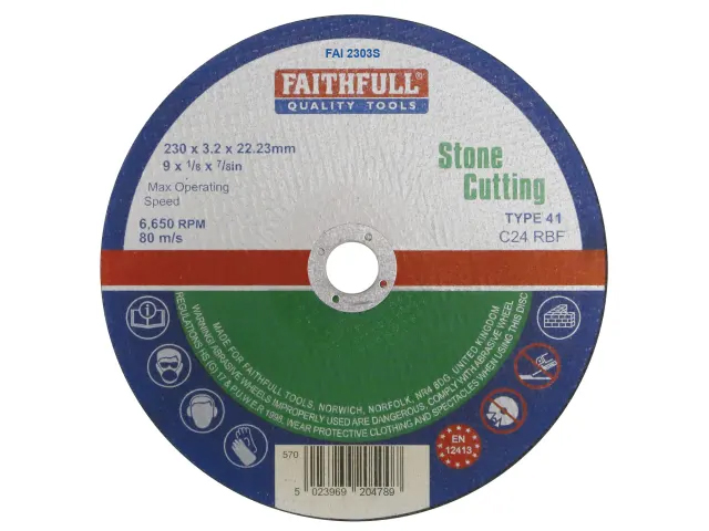 FAITHFULL STONE CUT OFF DISC 230 X 3.2 X 22.23MM